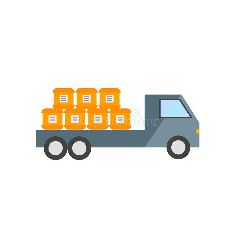 Vector del icono del camión de reparto aislado en el fondo blanco, muestra del camión de reparto, símbolos de la industria ilustración del vector