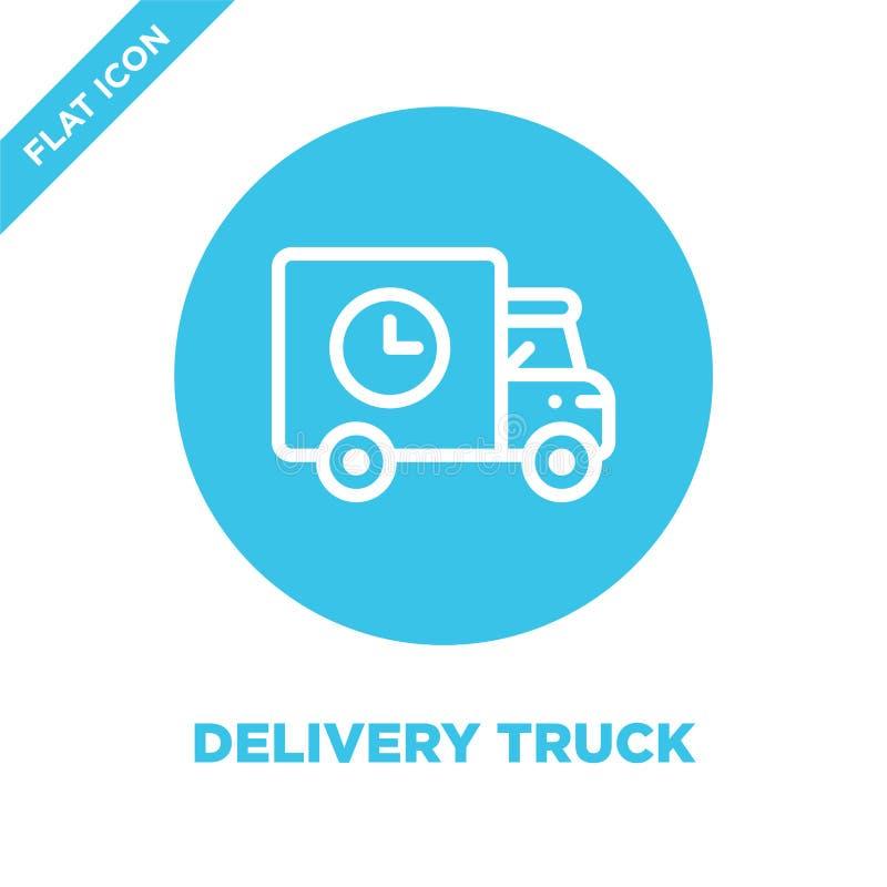 Vector del icono del camión de reparto Línea fina ejemplo del vector del icono del esquema del camión de reparto símbolo del cami stock de ilustración