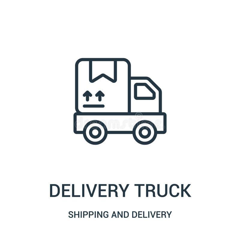 vector del icono del camión de reparto de la colección del envío y de la entrega Línea fina ejemplo del vector del icono del esqu ilustración del vector
