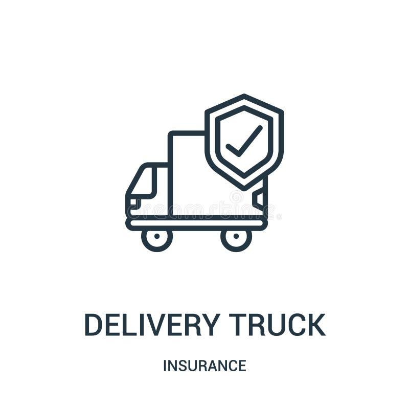 vector del icono del camión de reparto de la colección del seguro L?nea fina ejemplo del vector del icono del esquema del cami?n  stock de ilustración
