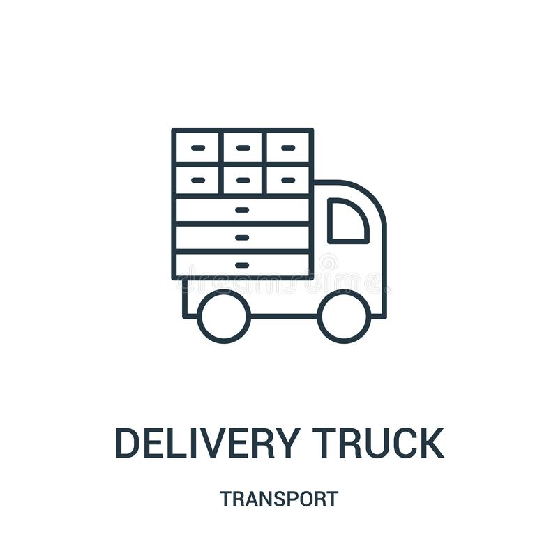 vector del icono del camión de reparto de la colección del transporte L?nea fina ejemplo del vector del icono del esquema del cam ilustración del vector