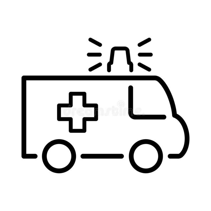 Vector del icono del cami?n de la ambulancia, muestra plana llenada, pictograma s?lido aislado en blanco S?mbolo, ejemplo del log stock de ilustración
