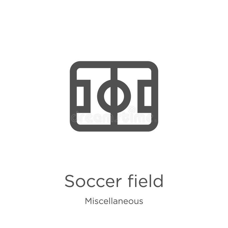 vector del icono del campo de fútbol de la colección diversa Línea fina ejemplo del vector del icono del esquema del campo de fút ilustración del vector