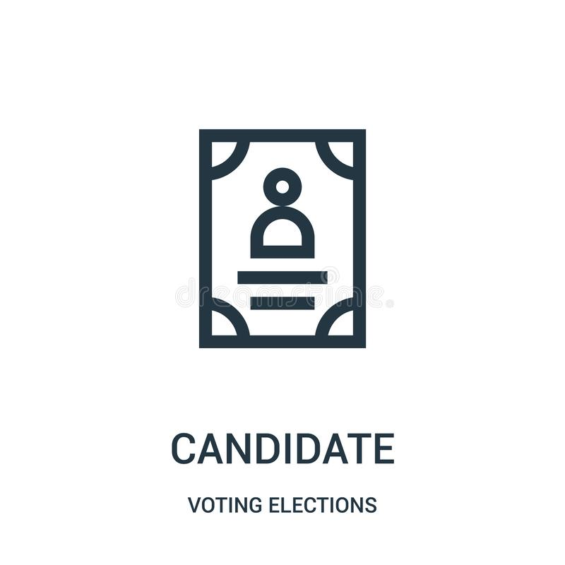 vector del icono del candidato de la colección de votación de las elecciones L?nea fina ejemplo del vector del icono del esquema  ilustración del vector