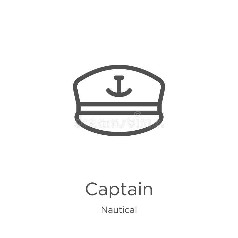 vector del icono del capitán de la colección náutica L?nea fina ejemplo del vector del icono del esquema del capit?n Esquema, lín libre illustration