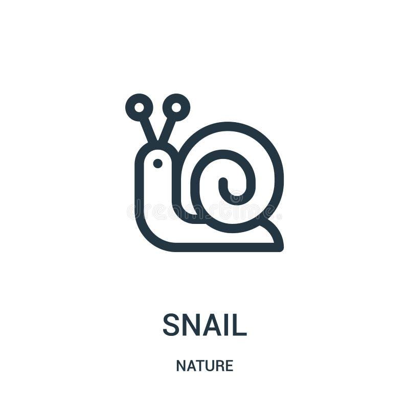 vector del icono del caracol de la colección de la naturaleza Línea fina ejemplo del vector del icono del esquema del caracol Sím libre illustration