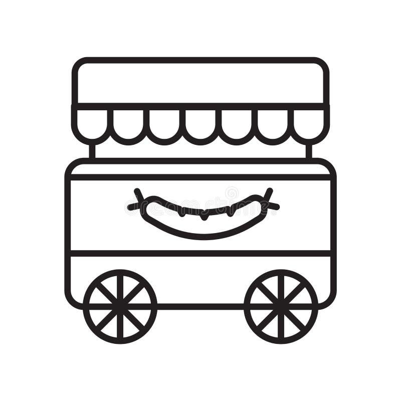 Vector del icono del carro de la comida aislado en el fondo blanco, muestra del carro de la comida, línea fina elementos del dise libre illustration