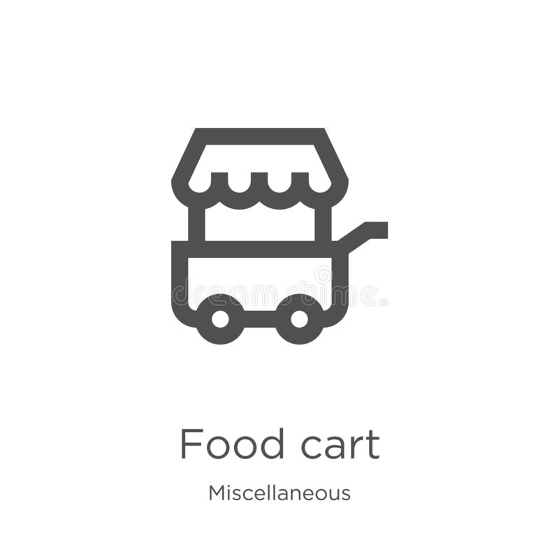 vector del icono del carro de la comida de la colección diversa Línea fina ejemplo del vector del icono del esquema del carro de  stock de ilustración
