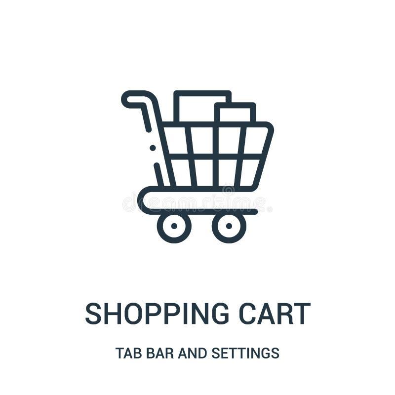vector del icono del carro de la compra de la barra de la etiqueta y de la colección de los ajustes Línea fina ejemplo del vector libre illustration