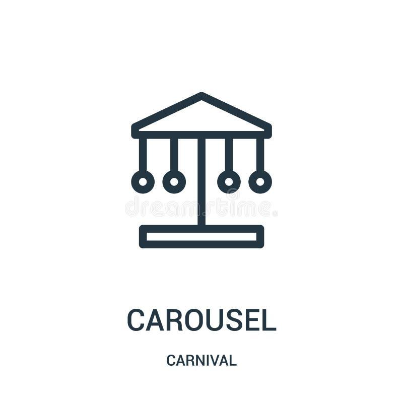 vector del icono del carrusel de la colecci?n del carnaval L?nea fina ejemplo del vector del icono del esquema del carrusel stock de ilustración