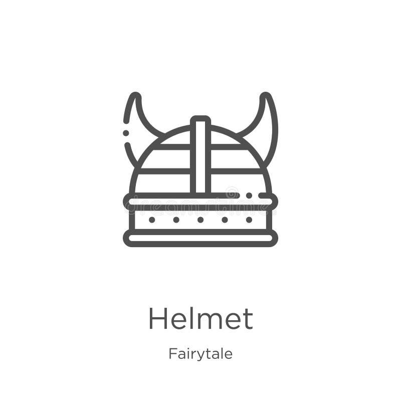 vector del icono del casco de la colección del cuento de hadas L?nea fina ejemplo del vector del icono del esquema del casco Esqu stock de ilustración