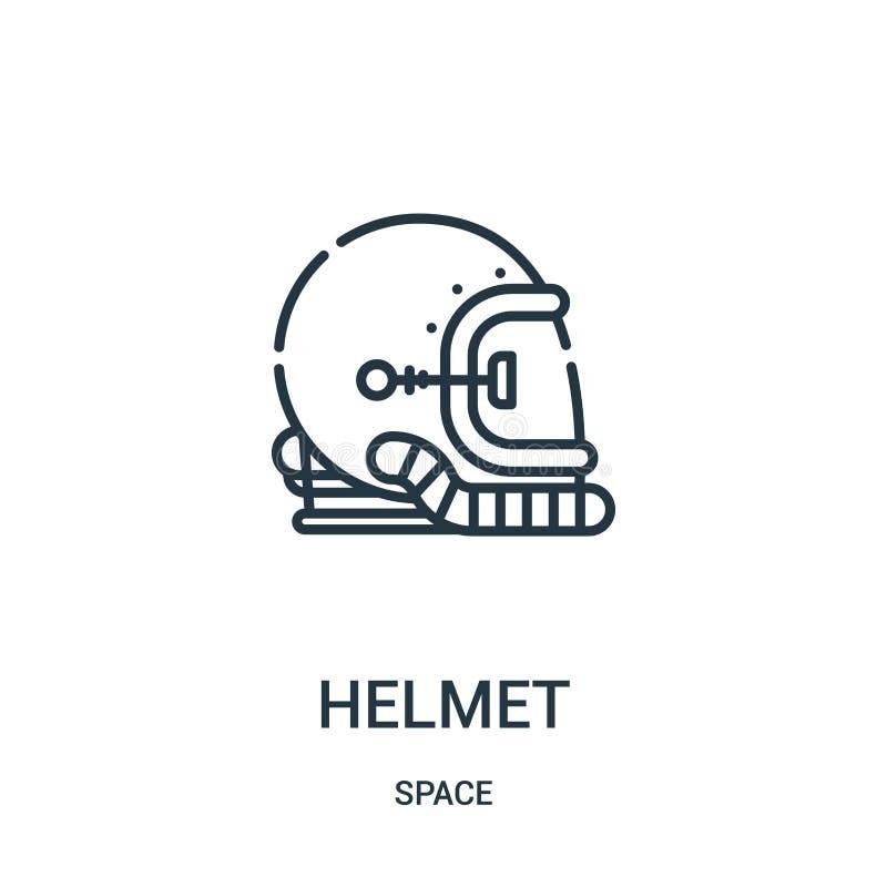 vector del icono del casco de la colección del espacio L?nea fina ejemplo del vector del icono del esquema del casco stock de ilustración