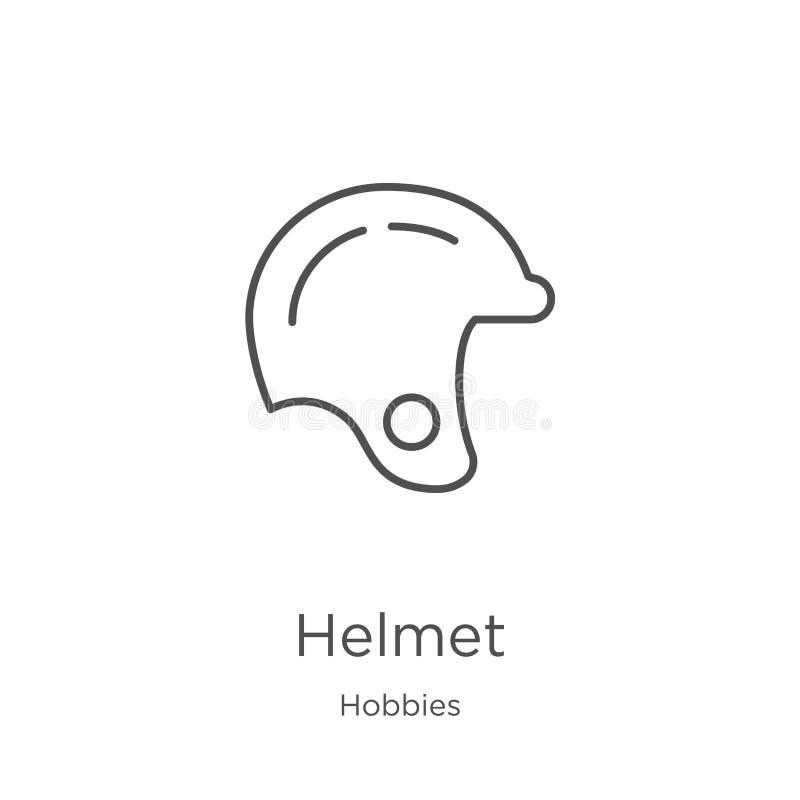 vector del icono del casco de la colección de las aficiones L?nea fina ejemplo del vector del icono del esquema del casco Esquema ilustración del vector