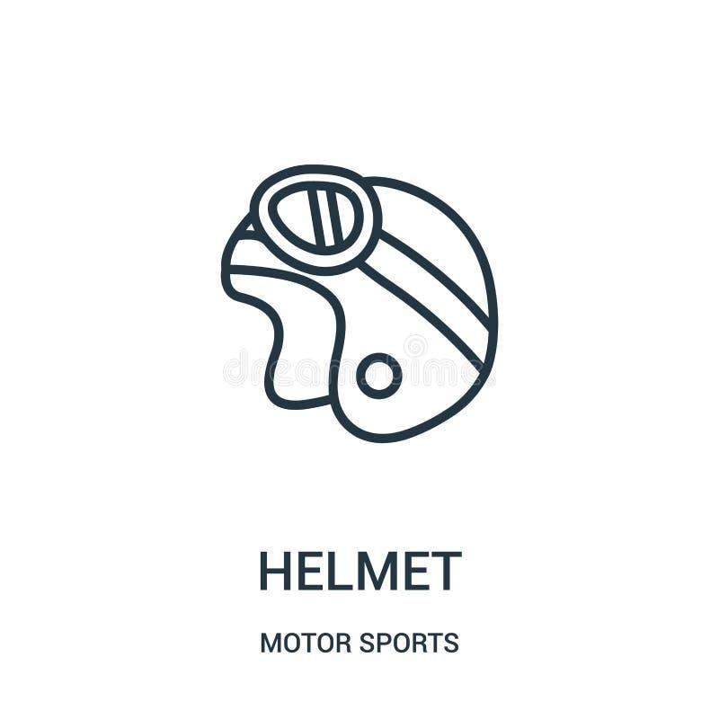 vector del icono del casco de la colección de los deportes de motor L?nea fina ejemplo del vector del icono del esquema del casco stock de ilustración