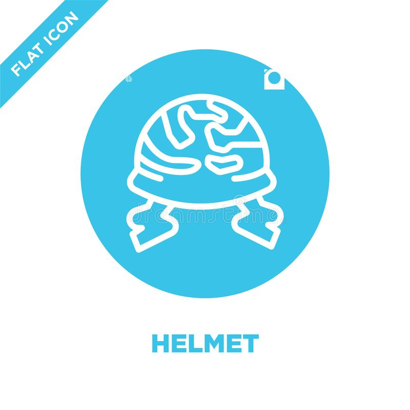 vector del icono del casco de la colección militar Línea fina ejemplo del vector del icono del esquema del casco Símbolo linear p libre illustration