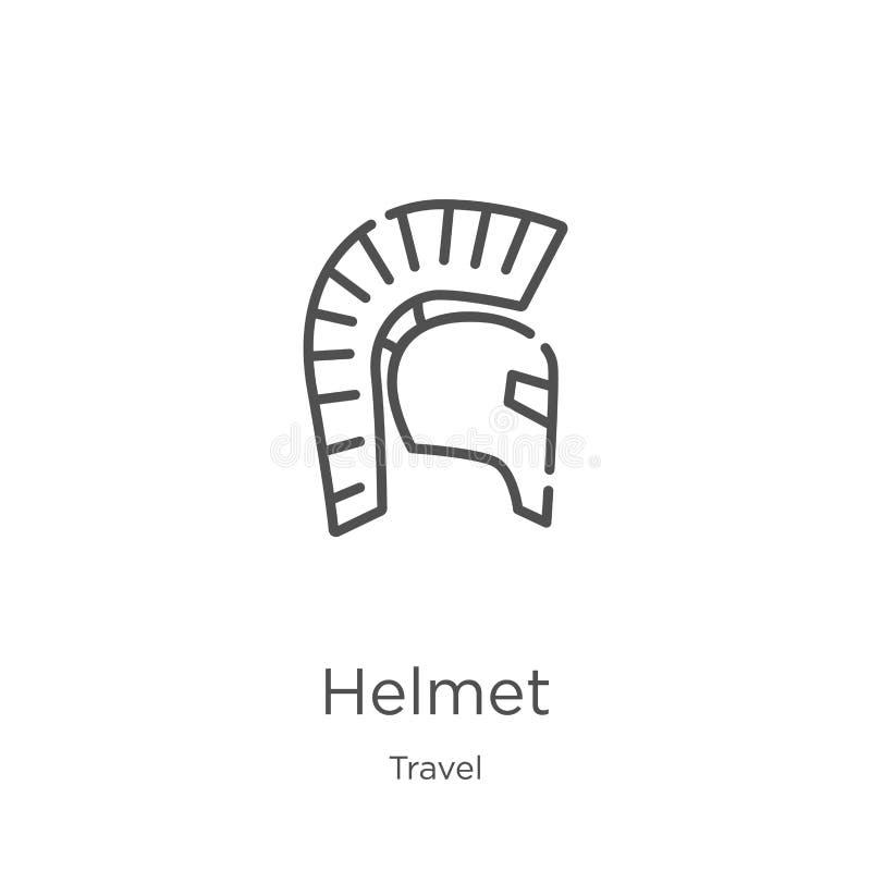 vector del icono del casco de la colección del viaje L?nea fina ejemplo del vector del icono del esquema del casco Esquema, línea libre illustration