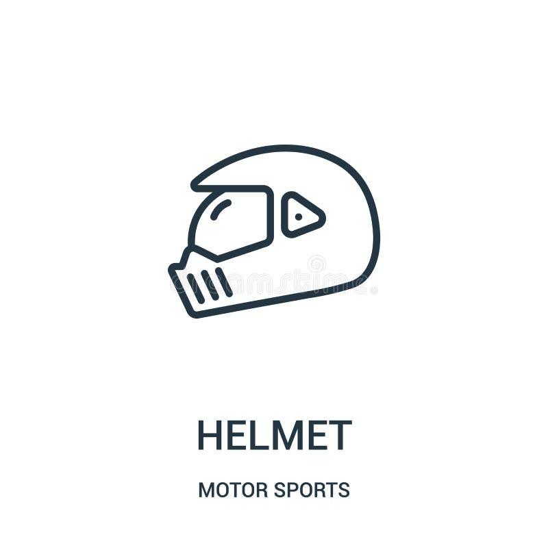 vector del icono del casco de la colecci?n de los deportes de motor L?nea fina ejemplo del vector del icono del esquema del casco ilustración del vector