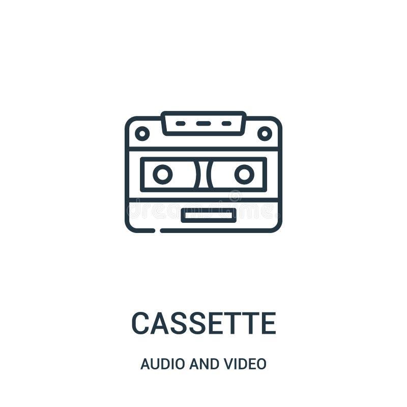 vector del icono del casete de la colección audio y video Línea fina ejemplo del vector del icono del esquema del casete libre illustration