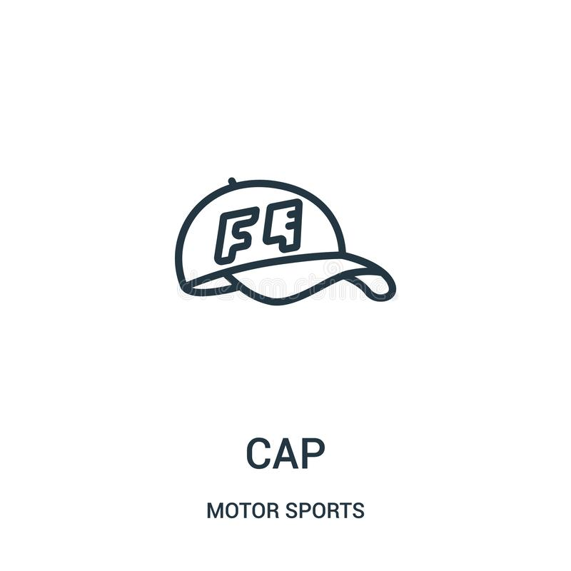 vector del icono del casquillo de la colección de los deportes de motor L?nea fina ejemplo del vector del icono del esquema del c libre illustration