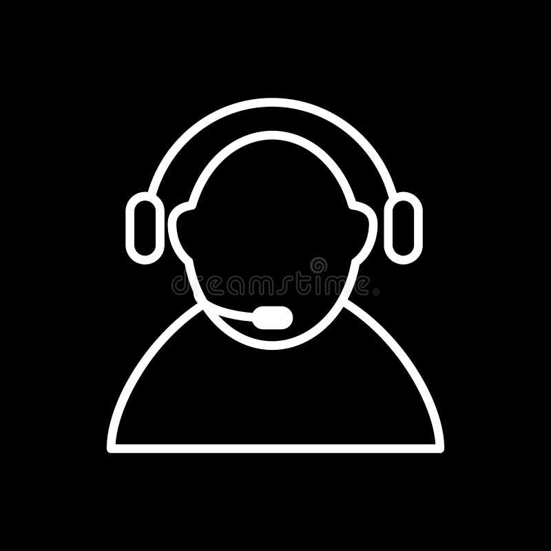 Vector del icono del centro de atención telefónica Encargado del centro de atención telefónica, operador, ayuda Icono linear plan libre illustration