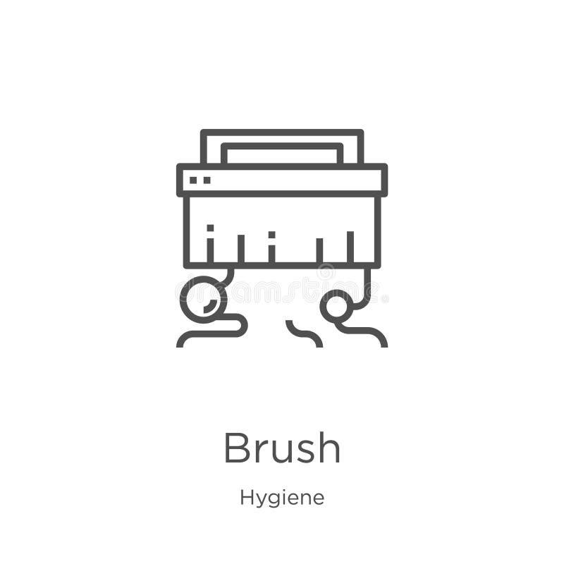 vector del icono del cepillo de la colección de la higiene Línea fina ejemplo del vector del icono del esquema del cepillo Esquem ilustración del vector