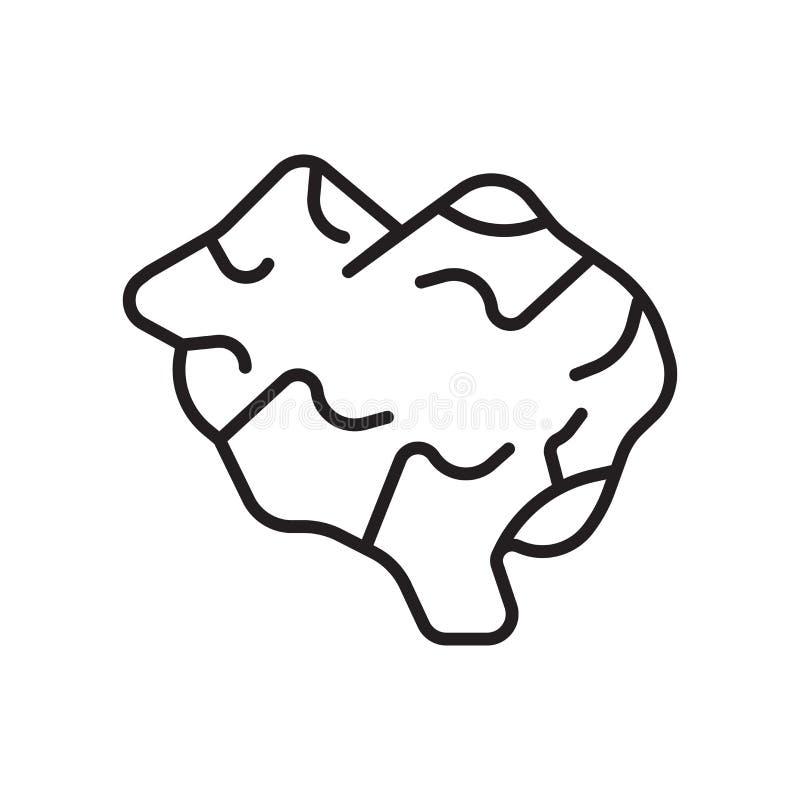 Vector del icono del cerebro aislado en el fondo, la muestra del cerebro, la muestra y los símbolos blancos en estilo linear fino ilustración del vector