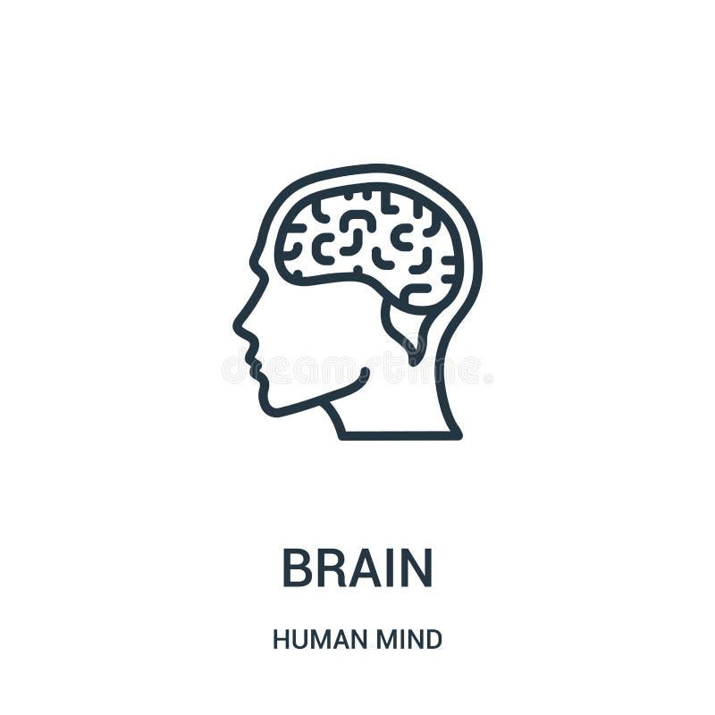 vector del icono del cerebro de la colección de la mente humana Línea fina ejemplo del vector del icono del esquema del cerebro S stock de ilustración