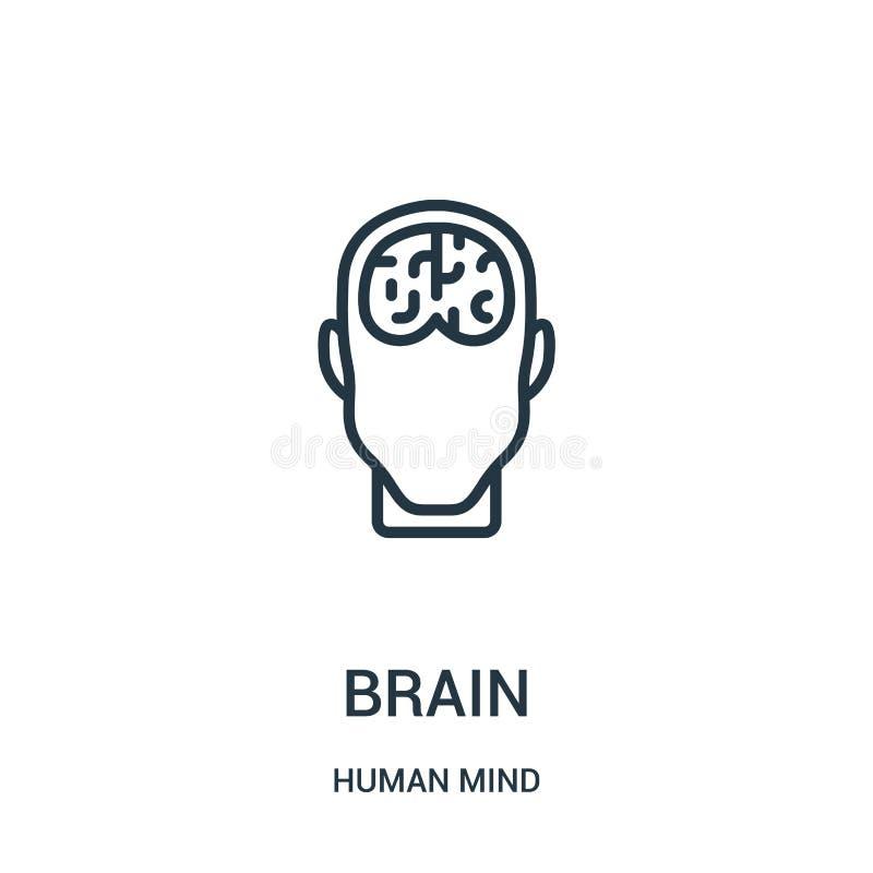 vector del icono del cerebro de la colección de la mente humana Línea fina ejemplo del vector del icono del esquema del cerebro S libre illustration