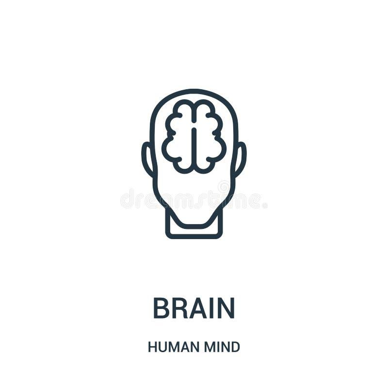 vector del icono del cerebro de la colección de la mente humana Línea fina ejemplo del vector del icono del esquema del cerebro S ilustración del vector