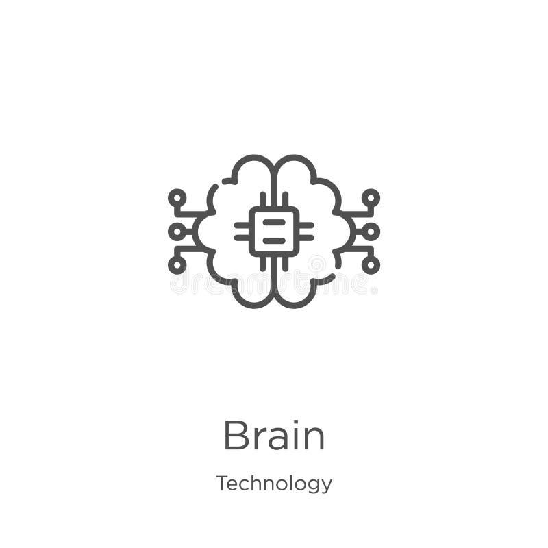 vector del icono del cerebro de la colección de la tecnología L?nea fina ejemplo del vector del icono del esquema del cerebro Esq libre illustration