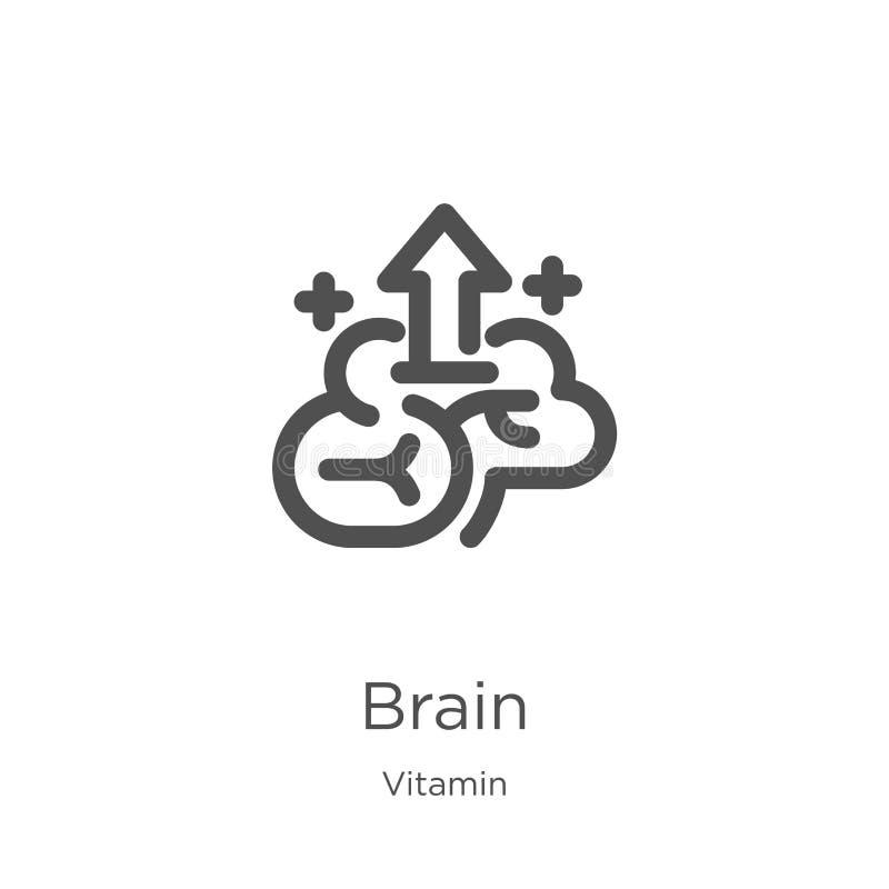vector del icono del cerebro de la colección de la vitamina L?nea fina ejemplo del vector del icono del esquema del cerebro Esque stock de ilustración
