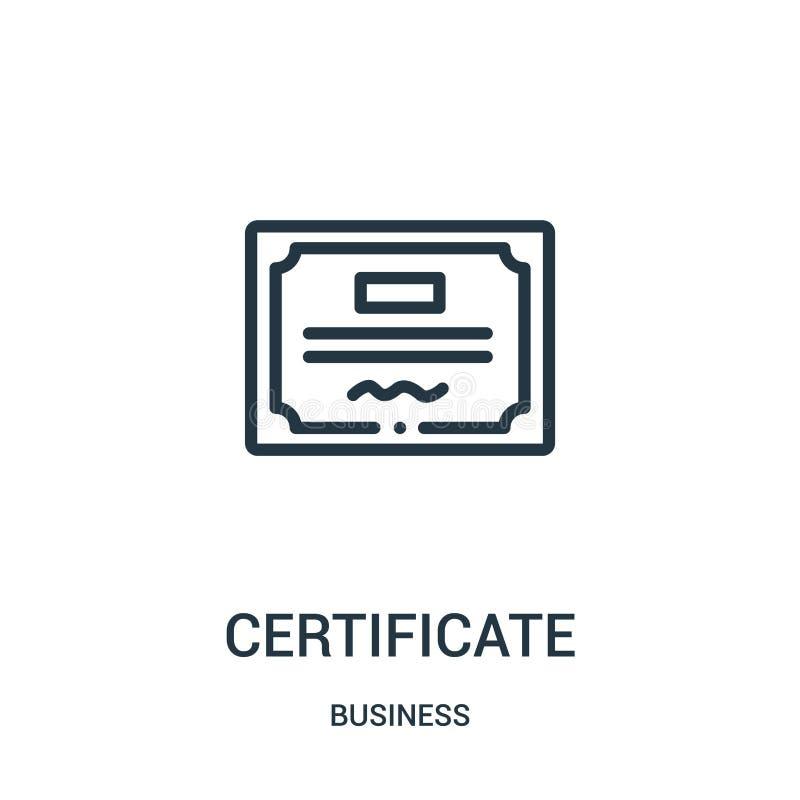 vector del icono del certificado de la colección del negocio L?nea fina ejemplo del vector del icono del esquema del certificado  ilustración del vector