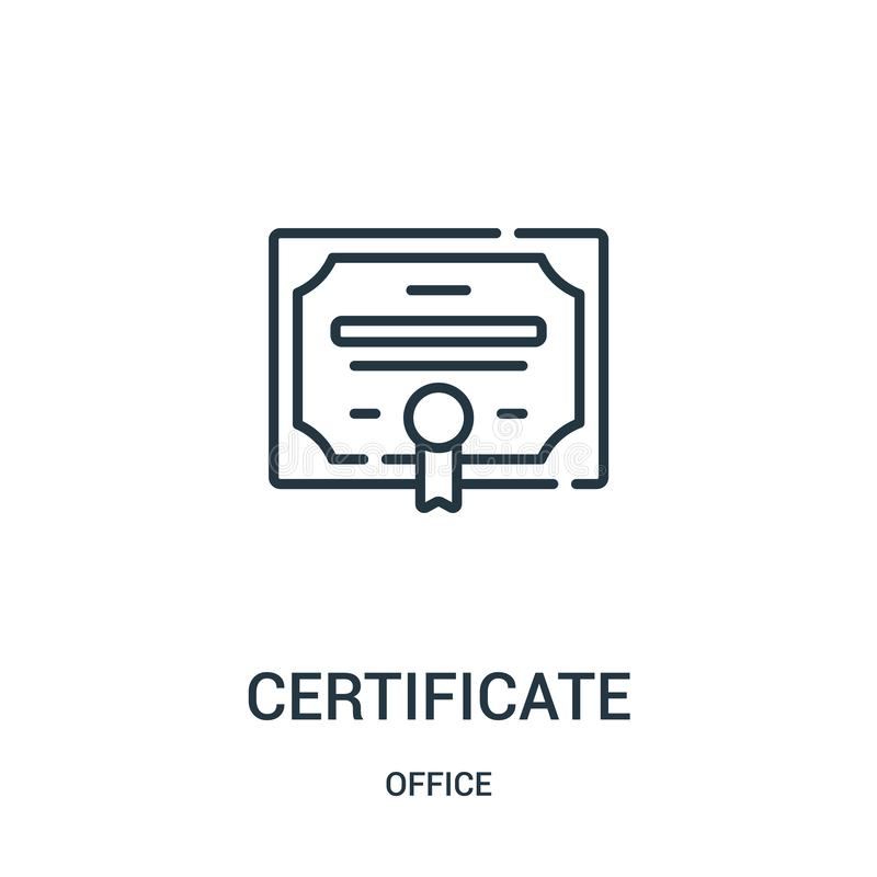 vector del icono del certificado de la colección de la oficina L?nea fina ejemplo del vector del icono del esquema del certificad libre illustration