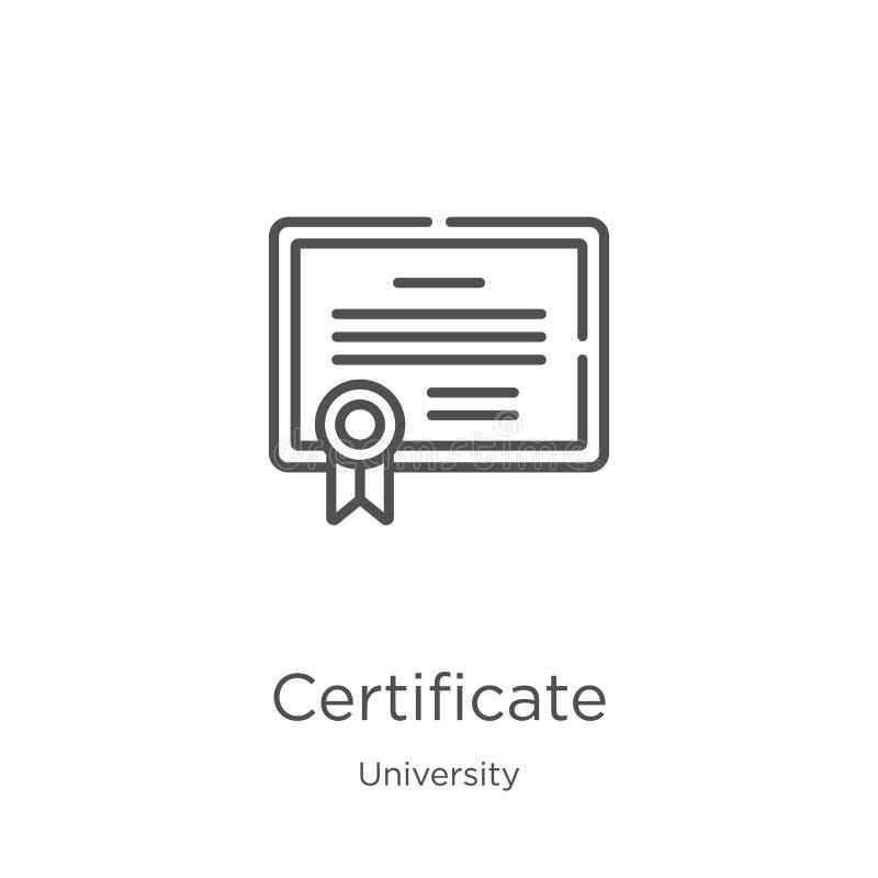 vector del icono del certificado de la colección de la universidad Línea fina ejemplo del vector del icono del esquema del certif libre illustration