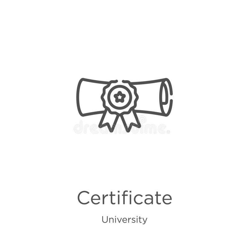 vector del icono del certificado de la colecci?n de la universidad L?nea fina ejemplo del vector del icono del esquema del certif libre illustration
