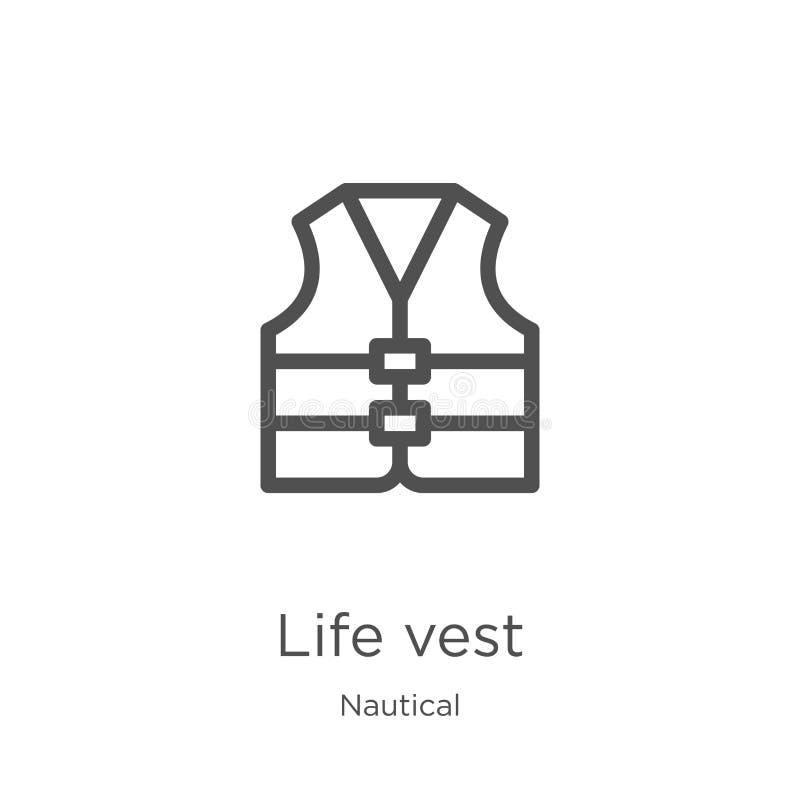 vector del icono del chaleco de vida de la colección náutica L?nea fina ejemplo del vector del icono del esquema del chaleco de v ilustración del vector