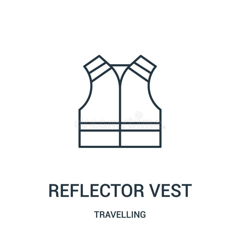 vector del icono del chaleco del reflector de la colección que viaja Línea fina ejemplo del vector del icono del esquema del chal stock de ilustración