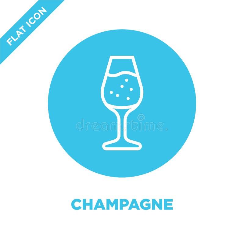 vector del icono del champán de la colección de la bebida Línea fina ejemplo del vector del icono del esquema del champán Símbolo stock de ilustración