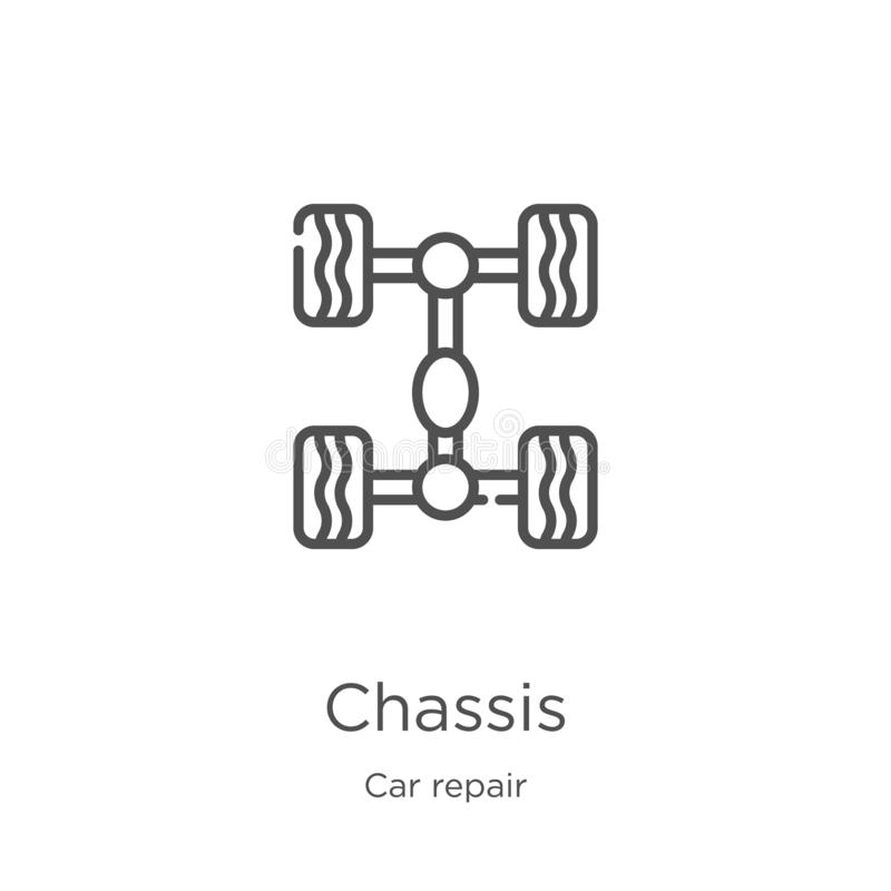 vector del icono del chasis de la colección de la reparación del coche Línea fina ejemplo del vector del icono del esquema del ch libre illustration