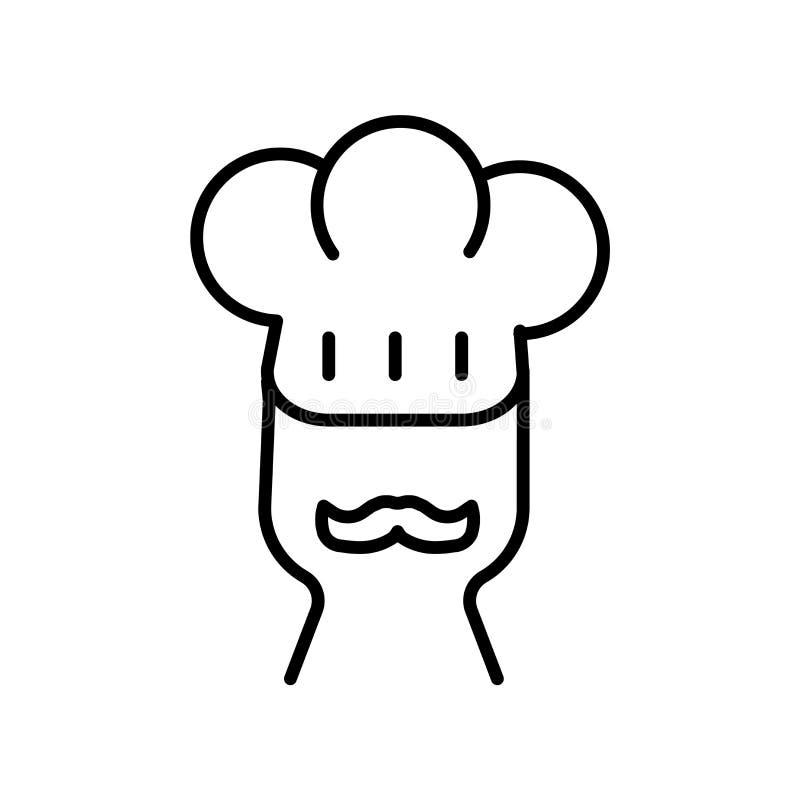 Vector del icono del chef de repostería aislado en el fondo blanco, muestra del chef de repostería, línea fina elementos del dise stock de ilustración