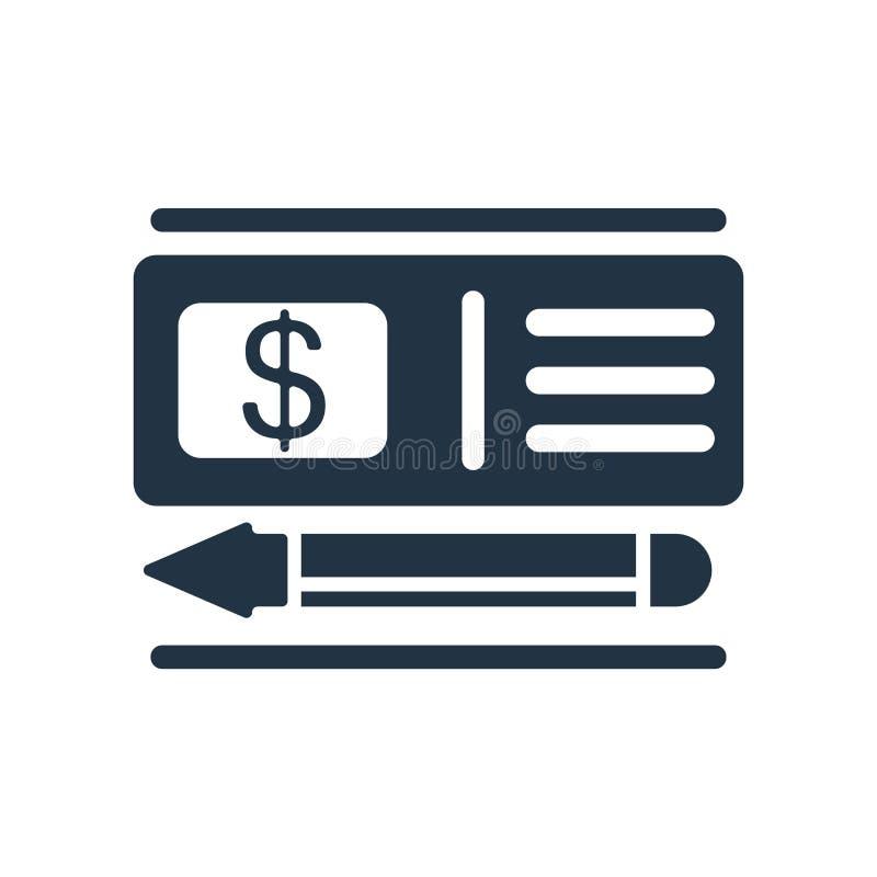 Vector del icono del cheque aislado en el fondo blanco, muestra del cheque ilustración del vector