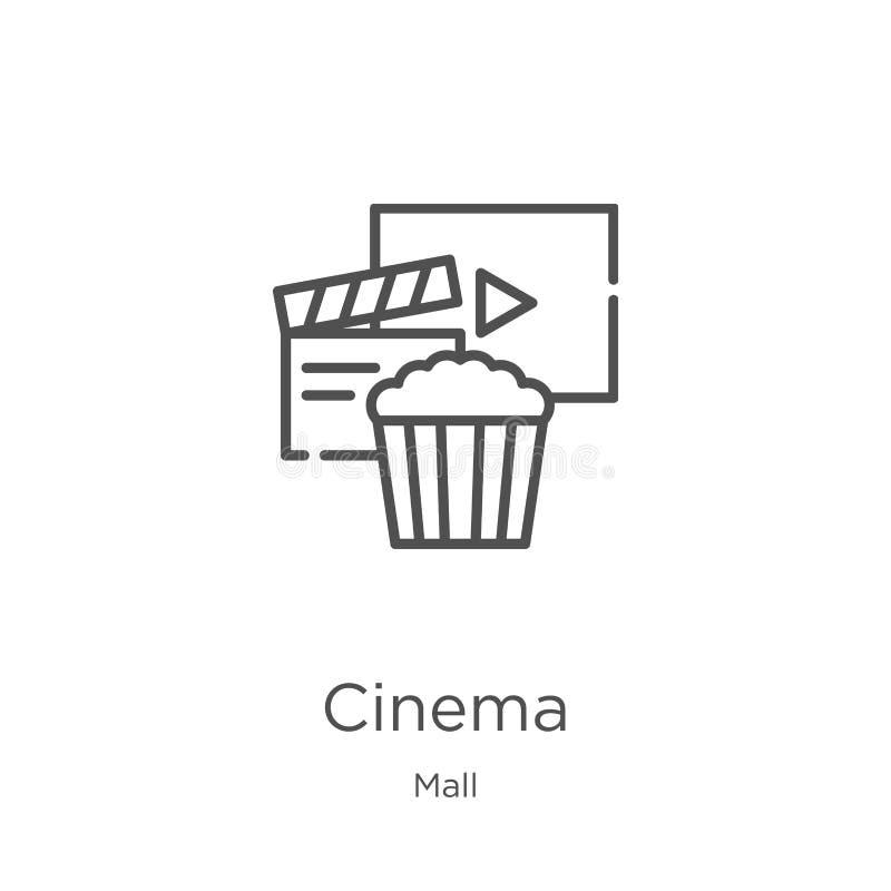 vector del icono del cine de la colección de la alameda L?nea fina ejemplo del vector del icono del esquema del cine Esquema, lín stock de ilustración