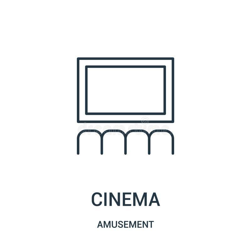 vector del icono del cine de la colección de la diversión Línea fina ejemplo del vector del icono del esquema del cine stock de ilustración