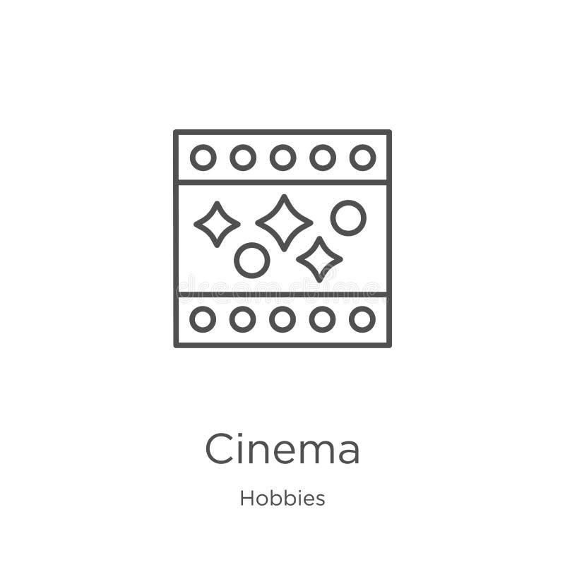 vector del icono del cine de la colección de las aficiones L?nea fina ejemplo del vector del icono del esquema del cine Esquema,  ilustración del vector