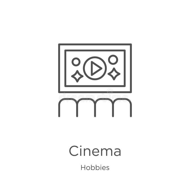 vector del icono del cine de la colecci?n de las aficiones L?nea fina ejemplo del vector del icono del esquema del cine Esquema,  stock de ilustración