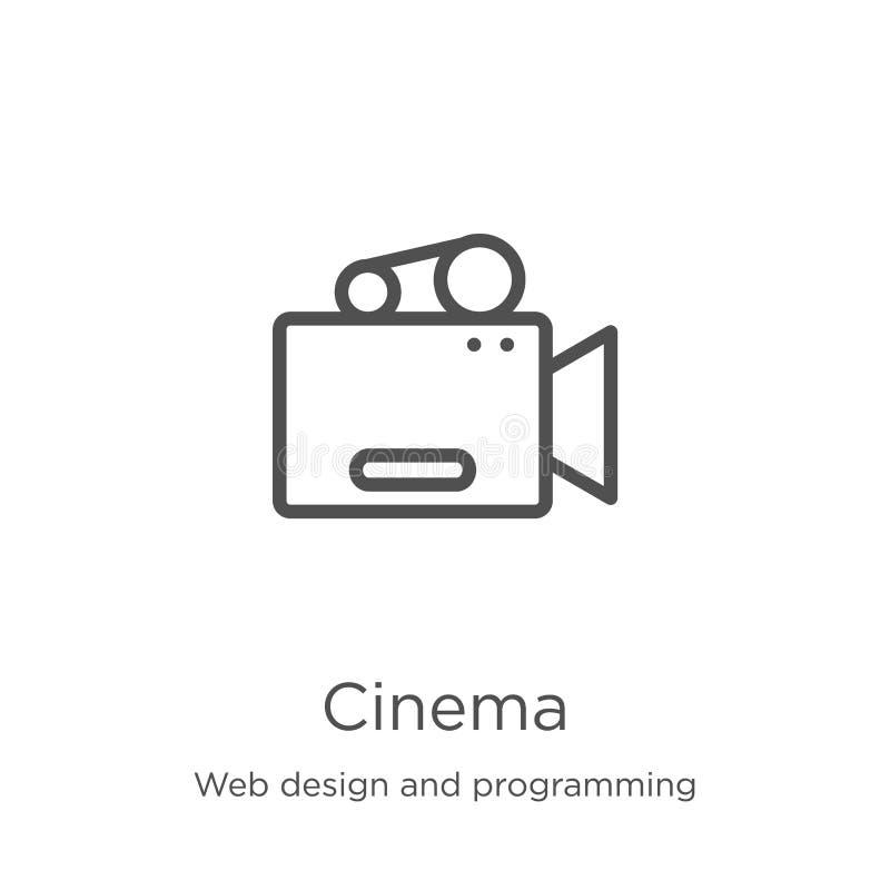 vector del icono del cine del diseño web y de la colección programada L?nea fina ejemplo del vector del icono del esquema del cin ilustración del vector