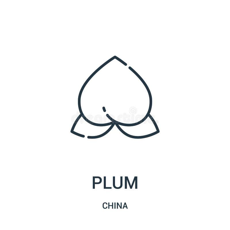 vector del icono del ciruelo de la colección de China Línea fina ejemplo del vector del icono del esquema del ciruelo Símbolo lin ilustración del vector