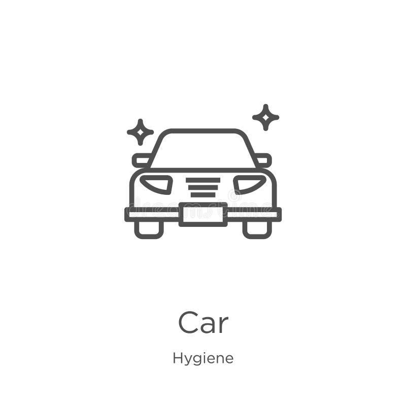 vector del icono del coche de la colección de la higiene L?nea fina ejemplo del vector del icono del esquema del coche Esquema, l ilustración del vector