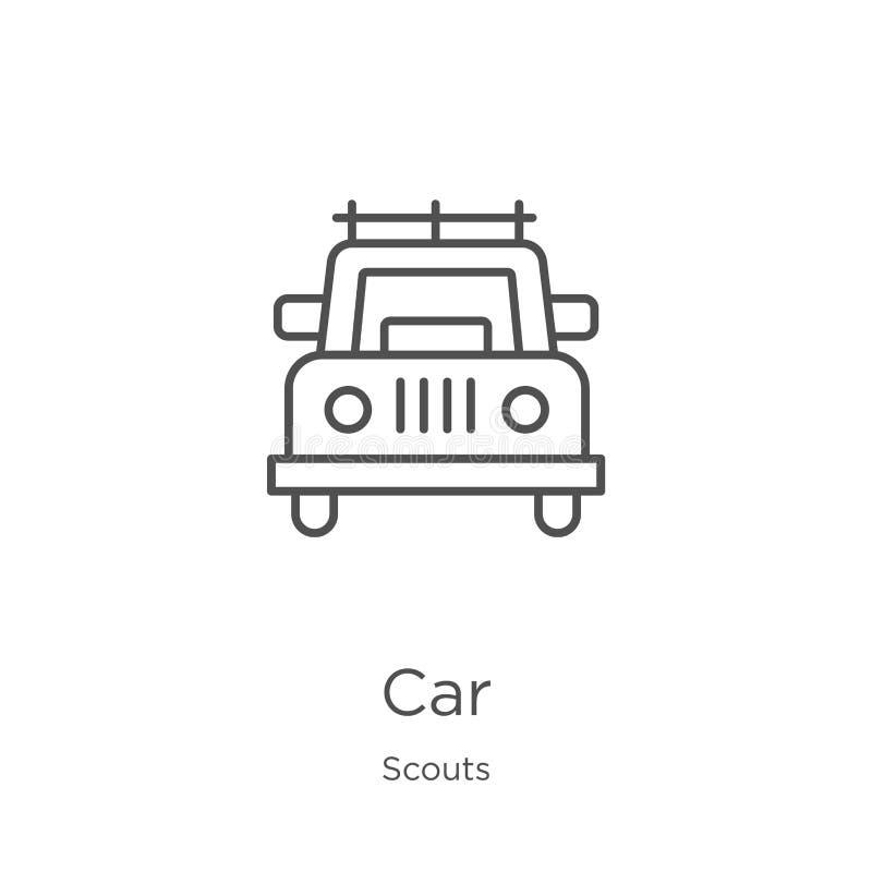 vector del icono del coche de la colección de los exploradores Línea fina ejemplo del vector del icono del esquema del coche Esqu stock de ilustración
