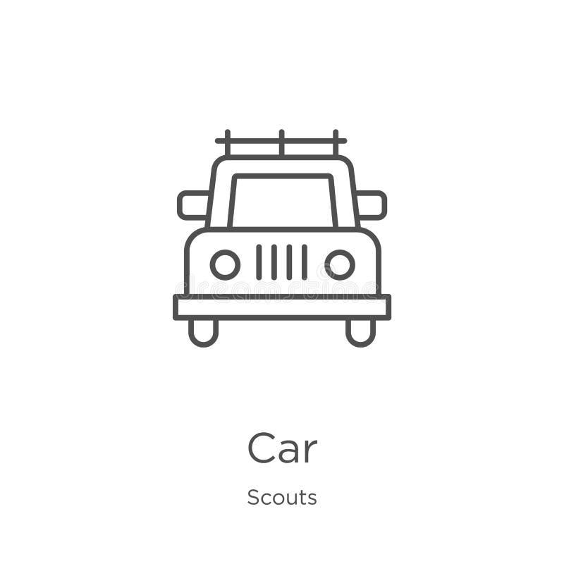 vector del icono del coche de la colección de los exploradores Línea fina ejemplo del vector del icono del esquema del coche Esqu ilustración del vector